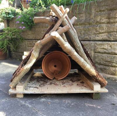 Bug hotel with a plant pot inside
