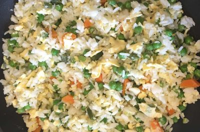 One pan egg fried rice and veg - easy healthy meals